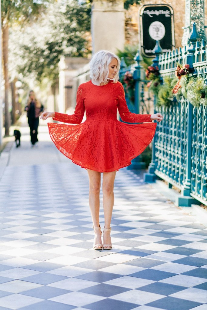 Christmas party look outfit girly skater dress fit and flare circle dress hm h&m red lace long sleeve mini hi-low platinum long bob tousled tan nude steve madden marlenee heels ankle strap shoes downtown charleston south carolina sc wreath Christmas holiday street style fashion blogger dannon k collard like the yogurt