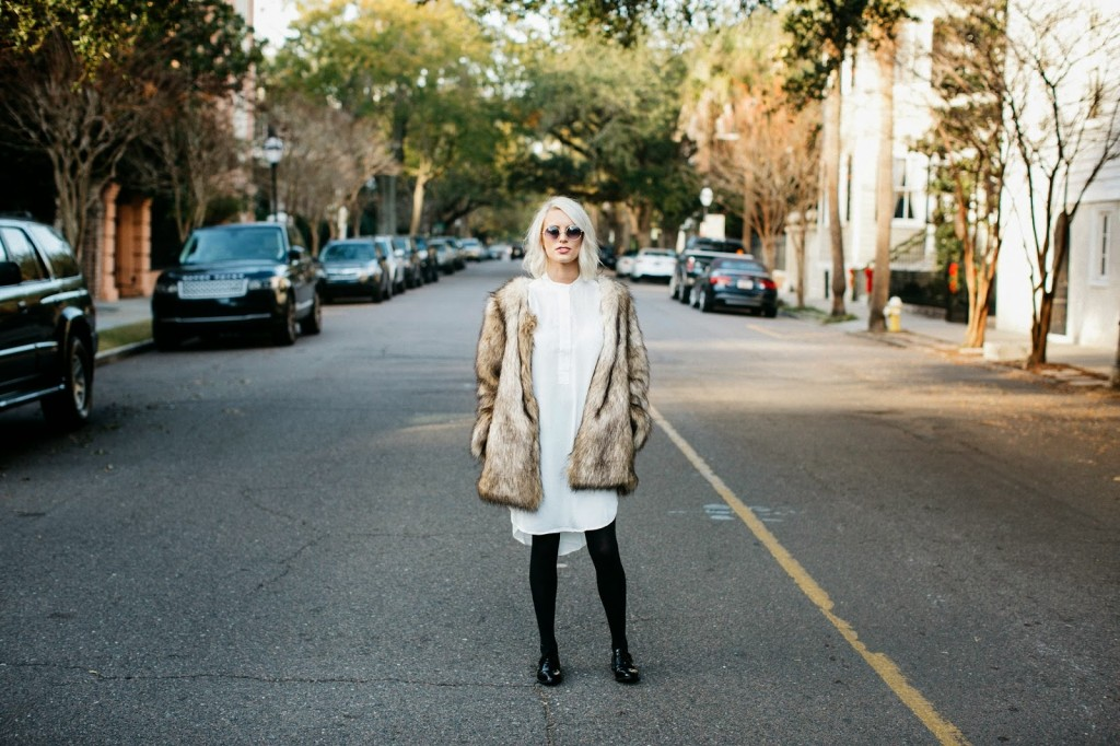 brown faux fur coat white tunic long chiffon dress black tights opaque target soft patent leather pointed oxfords forever 21 charleston sc south carolina street style fashion blog blogger dannon k collard like the yogurt platinum blonde long bob tousled hair red lips