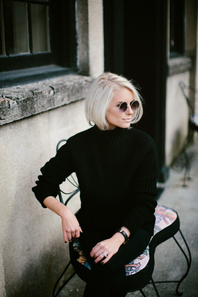 zara hm asos black chunky oversized high neck funnel ribbed sweater hair tuck platinum blond hair daniel wellington sheffield lady rose gold watch john lennon elton john round sunglasses black butter london steve madden leopard flats shoes downtown charleston sc