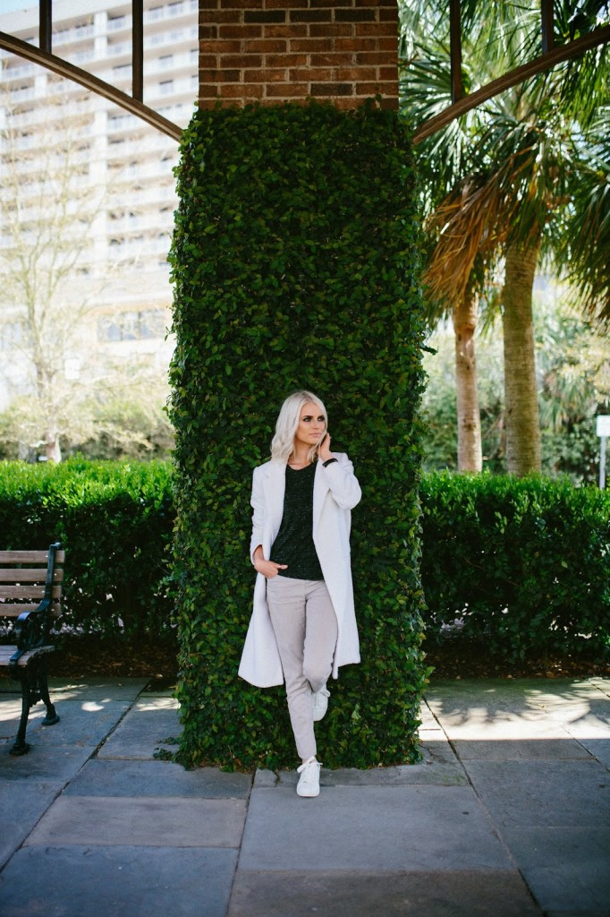 Charleston Fashion Blogger Dannon K Collard like the yogurt forever 21 static tee shirt top khaki skinny jeans pants tan white sneakers white coat jacket platinum blonde long bob tousled hair daniel wellington watch sheffield lady gold band rings