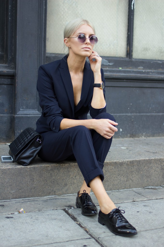 NWFW 2015 AW15 H&M navy suit Forever 21 Oxfords // Charleston Fashion Blogger Dannon, Like The Yogurt