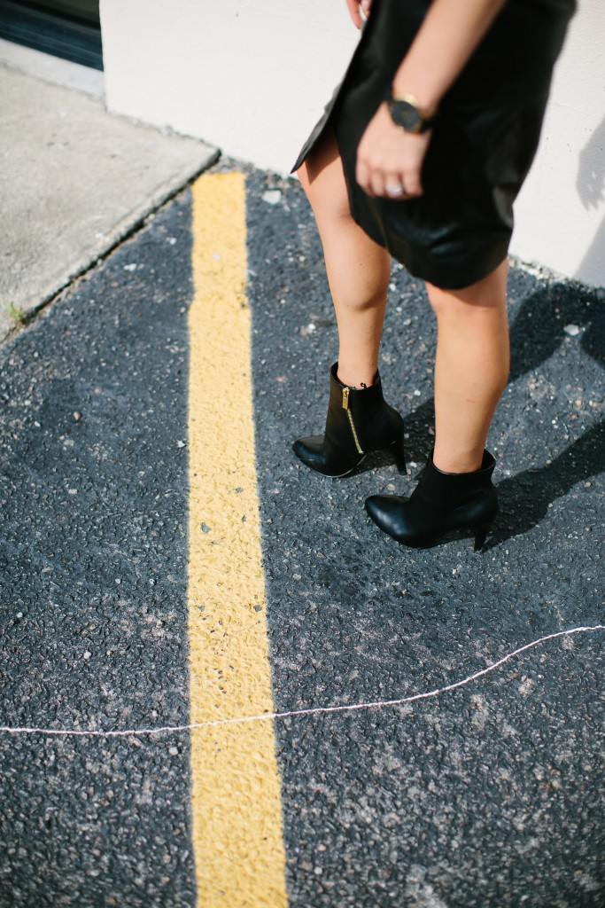 Sheer Edge leather skirt ankle boots // Charleston Fashion Blogger Dannon, Like The Yogurt