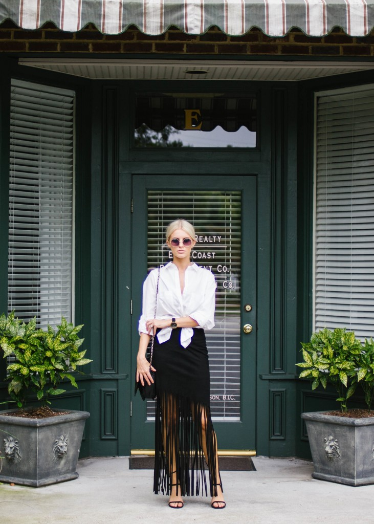 Black Fringe Skirt Dress with White Button Up // Charleston Blogger Dannon Like The Yogurt
