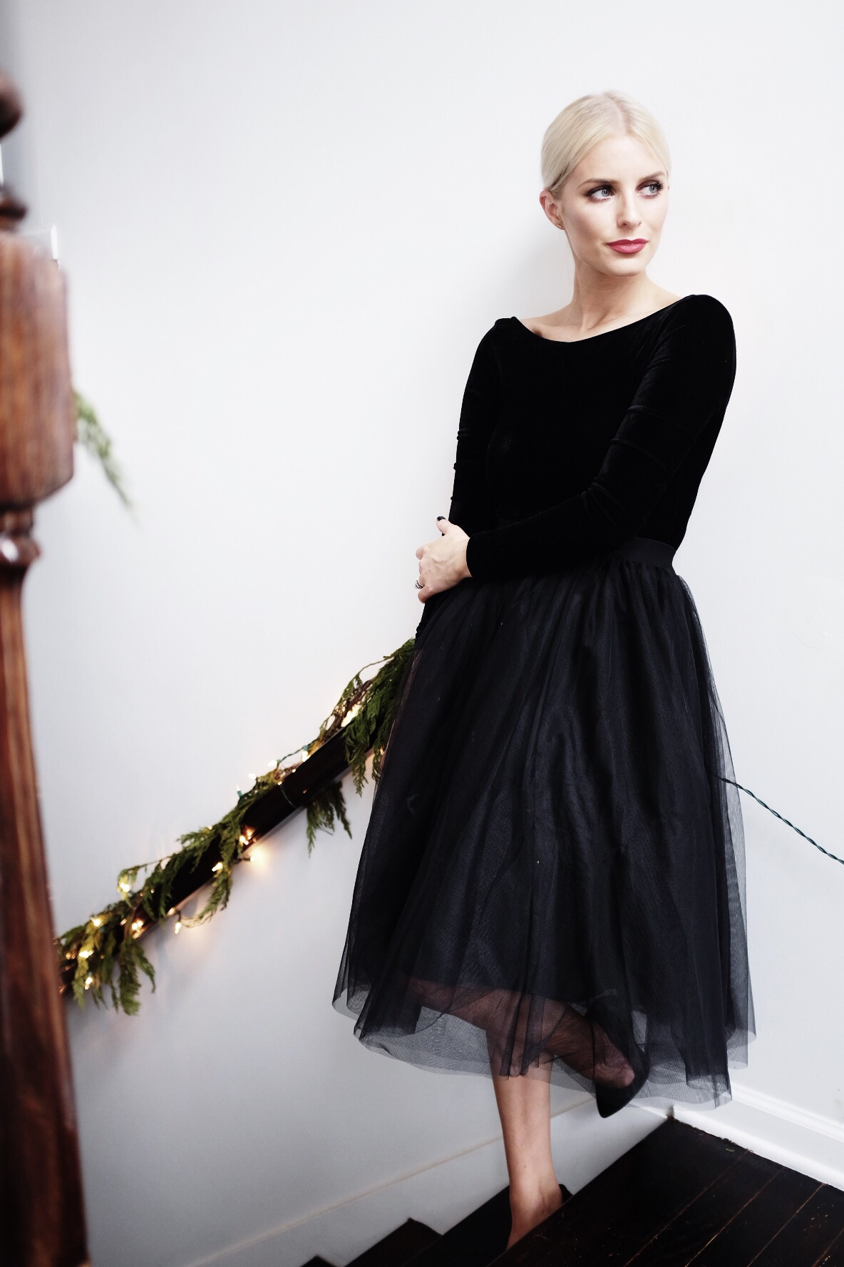 Christmas at The Hellers 2015 black tulle skirt velvet bodysuit holiday outfit // Charleston Fashion Blogger Dannon Like The Yogurt
