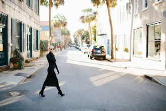 Posh black long sleeve turtleneck dress H&M suede thigh high boots // Charleston Fashion Blogger Dannon Like The Yogurt