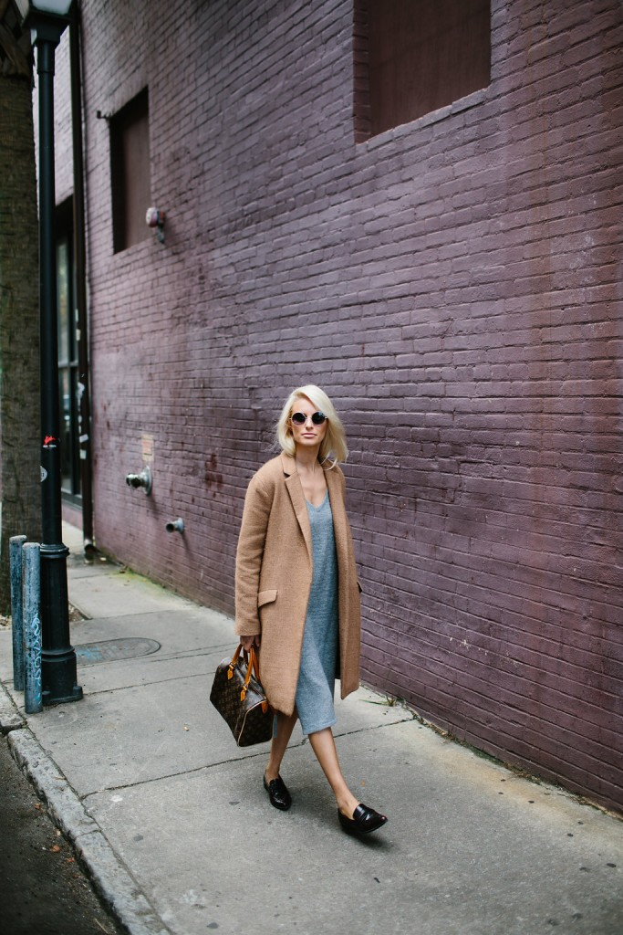 Dress Down Grey V Neck Sweater Dress Loafers Camel Coat Fashion Trends 2016 // Charleston Fashion Blogger Dannon Like The Yogurt
