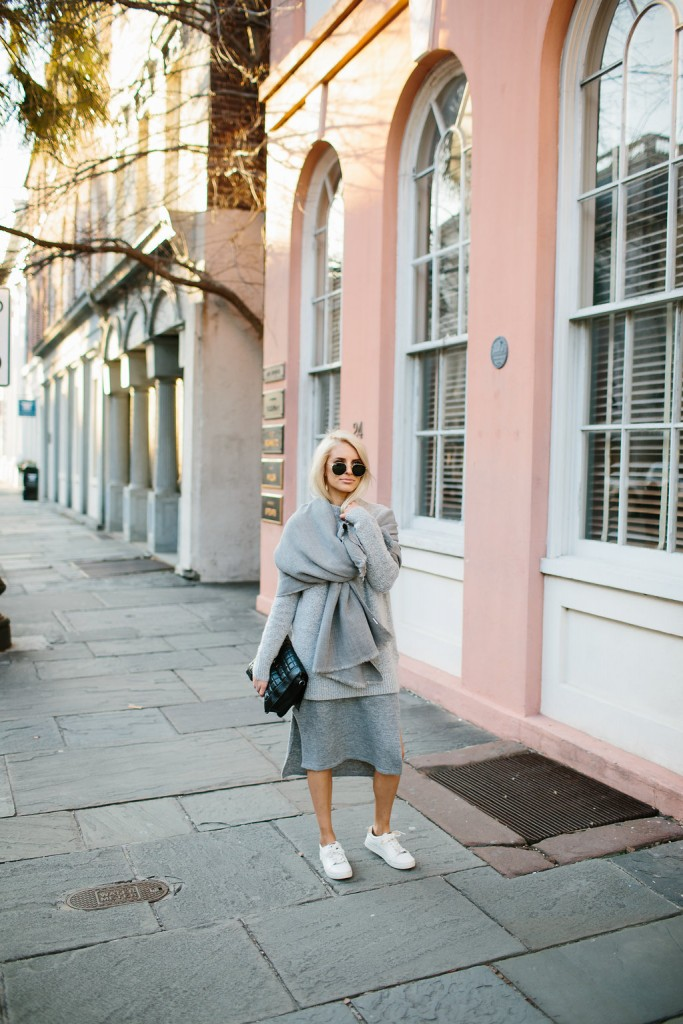 Grey Layers Forever 21 Sweater Dress Side Oversized Scarf Slits H&M white sneakers // Charleston Fashion Blogger Dannon Like The Yogurt