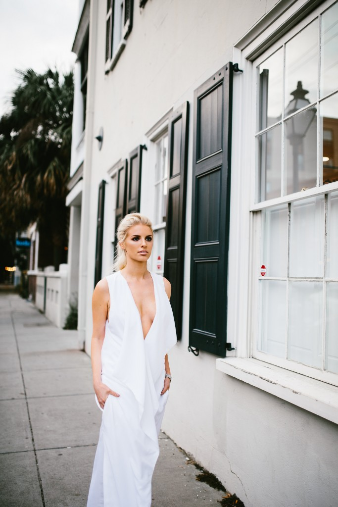 CFW Finale Charles Morgan Charleston Fashion Week 2016 Street style white ruffle dress trouser wide leg pants half up half down tousled hair kelli hoff // Charleston Fashion Blogger Dannon Like The Yogurt