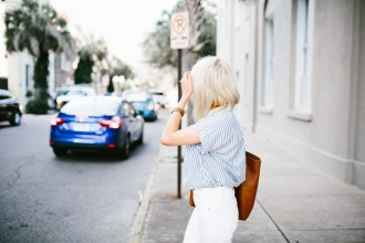 Madewell Denim Rules White high riser skinny jeans thrifted grey oversized coat central stripe chambray short sleeve top tan suede ankle boots daniel wellington watch Spring 2016 // Charleston Fashion Blogger Dannon Like The Yogurt