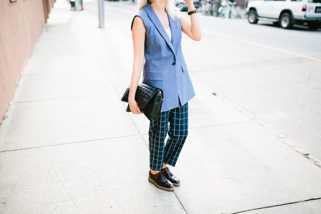 CFW Day 2 Banana Republic Charleston Fashion Week 2016 Street style Chambray lightweight wool vest lamoda 101 grid trousers H&M croc oxfords // Charleston Fashion Blogger Dannon Like The Yogurt