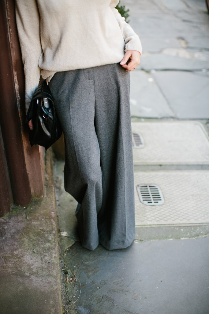 Loose Fits H&M grey high waist wool wide leg pants v-neck cream sweater white pointed loafers // Charleston Fashion Blogger Dannon Like The Yogurt