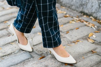 Grids Lamoda 101 Windowpane Check Coat and trousers Minimalist Navy white kitten heels block Zara Spring 2016 // Charleston Fashion Blogger Dannon Like The Yogurt