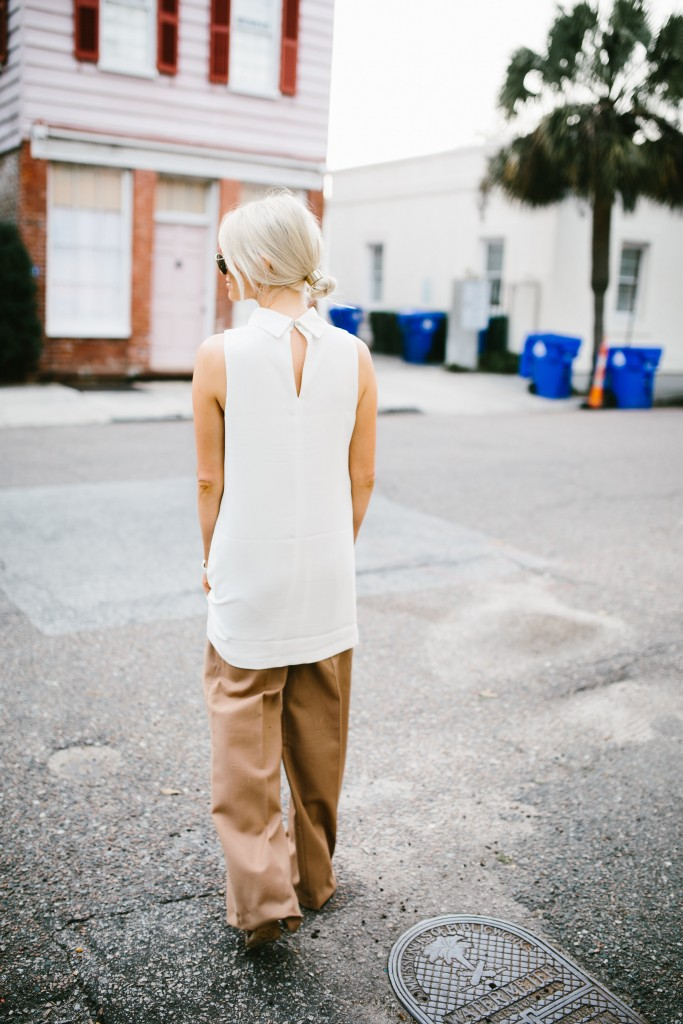 Spring Layers Forever 21 Mock-Neck cutout shift dress white keyhole collar cmeo collective wide leg high waist pants trousers camel Zara   // Charleston Fashion Blogger Dannon Like The Yogurt
