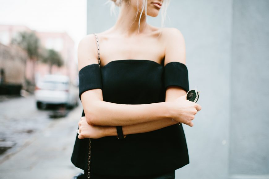 The Palisades Top Cmeo Collective Cameo The Label Black top-the-shoulder modern top leather H&M pants // Charleston Fashion Blogger Dannon Like The Yogurt
