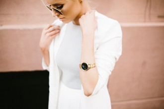 Nicole Vienna Soir N79 Link Gold Watch Black Marble Face // Charleston Fashion Blogger Dannon Like The Yogurt
