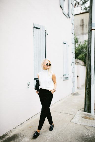Boyish Asos high neck sleeveless turtleneck white high waist trousers slacks Forever 21 black patent leather oxfords // Charleston Fashion Blogger Dannon Like The Yogurt