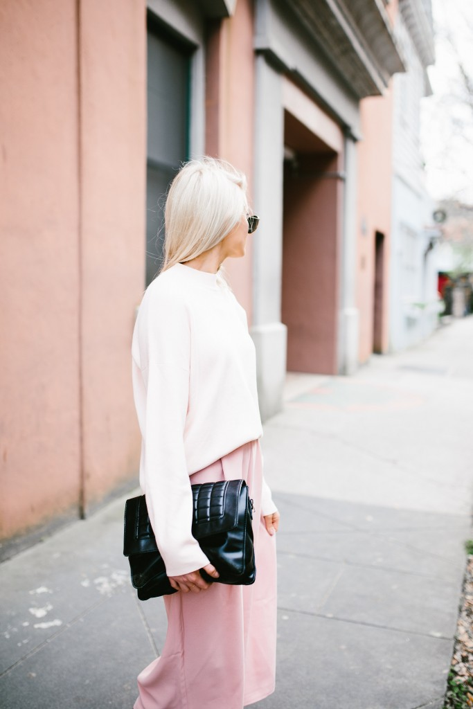 Blush and Bashful H&M mock turtleneck sweater pink blush culottes Tibi Banana Republic white kitten heels nordstrom // Charleston Fashion Blogger Dannon Like The Yogurt