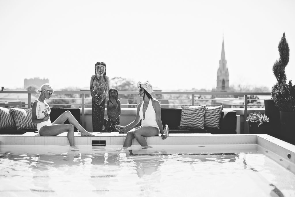 Everything But Water Jets by Jessika Allen One piece plunge swimsuit White cutout Le Specs Sunglasses Rachel Zoe eyelet Romper The Restoration Hotel downtown // Charleston Fashion Blogger Dannon Like The Yogurt