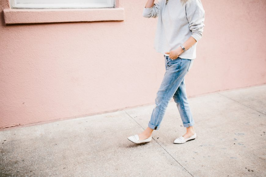 Lazy Days H&M mock turtleneck sweater madewell boyfriend jeans forever 21 white grey loafers // Charleston Fashion Blogger Dannon Like The Yogurt