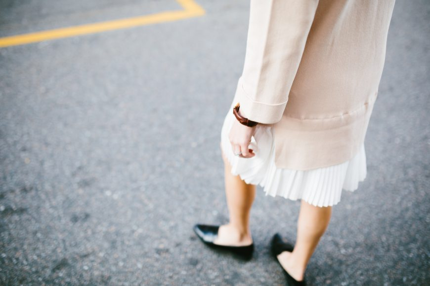 school's out degas sweater dress with pleated skirt Lamoda 101 blush white Spring 2016 street style // Charleston Fashion Blogger Dannon Like The Yogurt