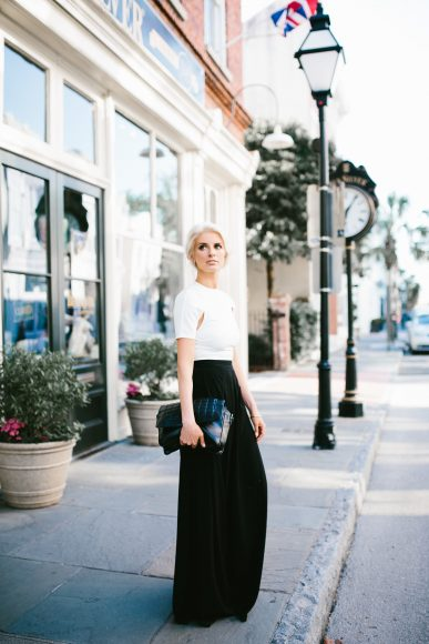 AQ/AQ Summer Capsule Collection Isha Split Sleeve Crop Top White Atra High Waist Trousers wide leg pants // Charleston Fashion Blogger Dannon Like The Yogurt