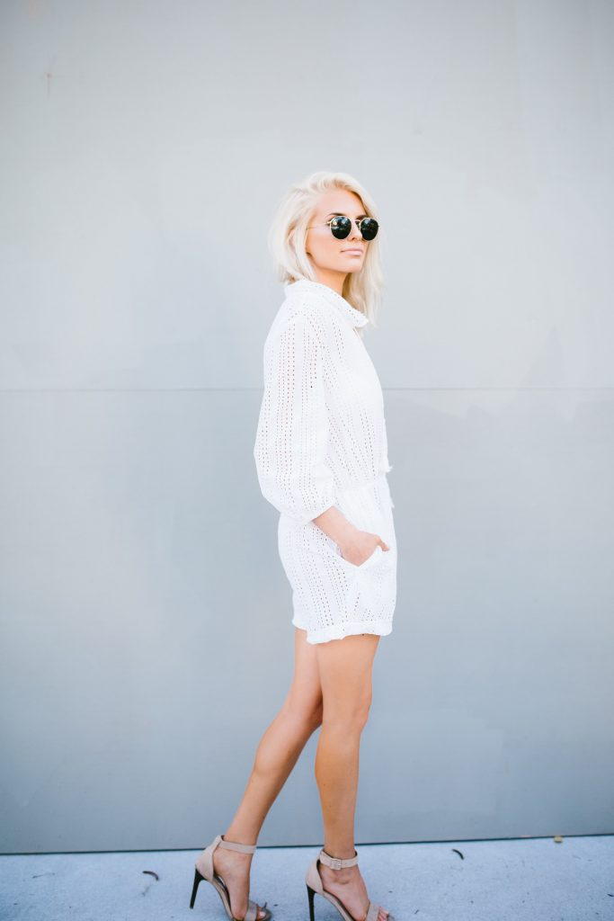 Everything But Water Rachel Zoe White Capsule Collection eyelet cover-up romper // Charleston Fashion Blogger Dannon Like The Yogurt