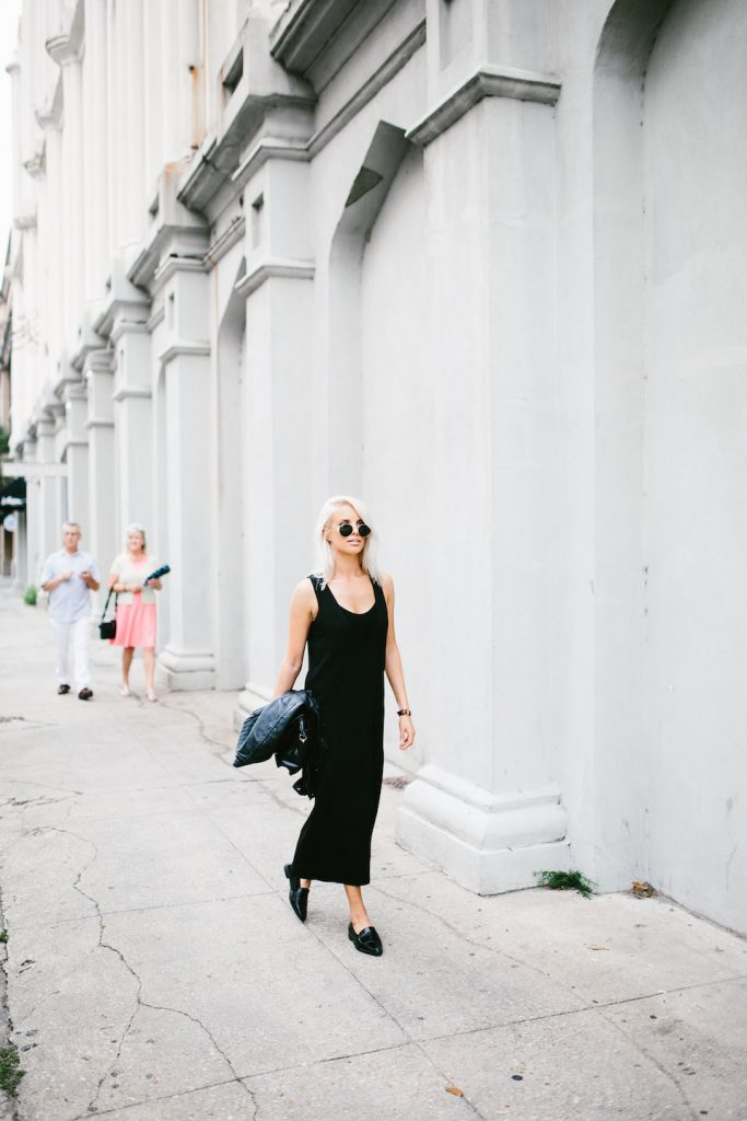Midi Lengths and Loafers black dress v neck azalea sf boutique forever 21 pointed loafers // Charleston Fashion Blogger Dannon Like The Yogurt
