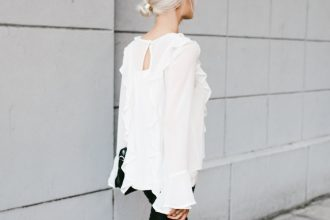 Makeovers and Mimosas Mosa Boutique For Love and Lemons White Ruffle Top Eva Blouse BlankNYC Leather Leggings // Charleston Fashion Blogger Dannon Like The Yogurt
