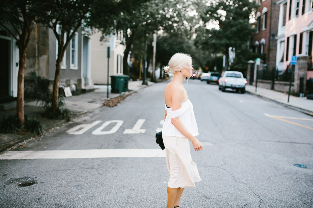 Off-the-shoulder forever 21 white crop top Cmeo Palisades top look-a-like tan culottes downtown street style Spring Summer Blogger 2016 Flower Boxes // Charleston Fashion Blogger Dannon Like The Yogurt