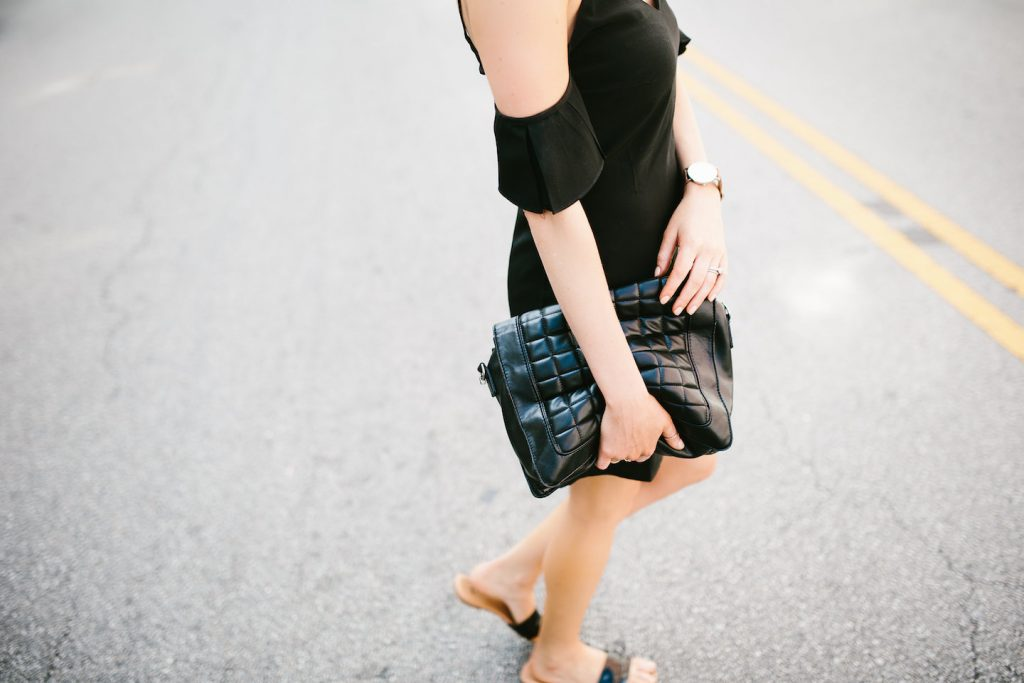 Saroka Frill Seeker dress off-the-shoulder black H&M slip-on sandals spring summer street style 2016 // Charleston Fashion Blogger Dannon Like The Yogurt