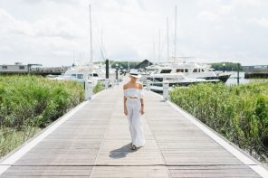 Sailing Away ASOS Stripe Beach Co-ord set Frill off-the-shoulder top wide leg split pant cover-up Harbor Marina // Charleston Fashion Blogger Dannon Like The Yogurt
