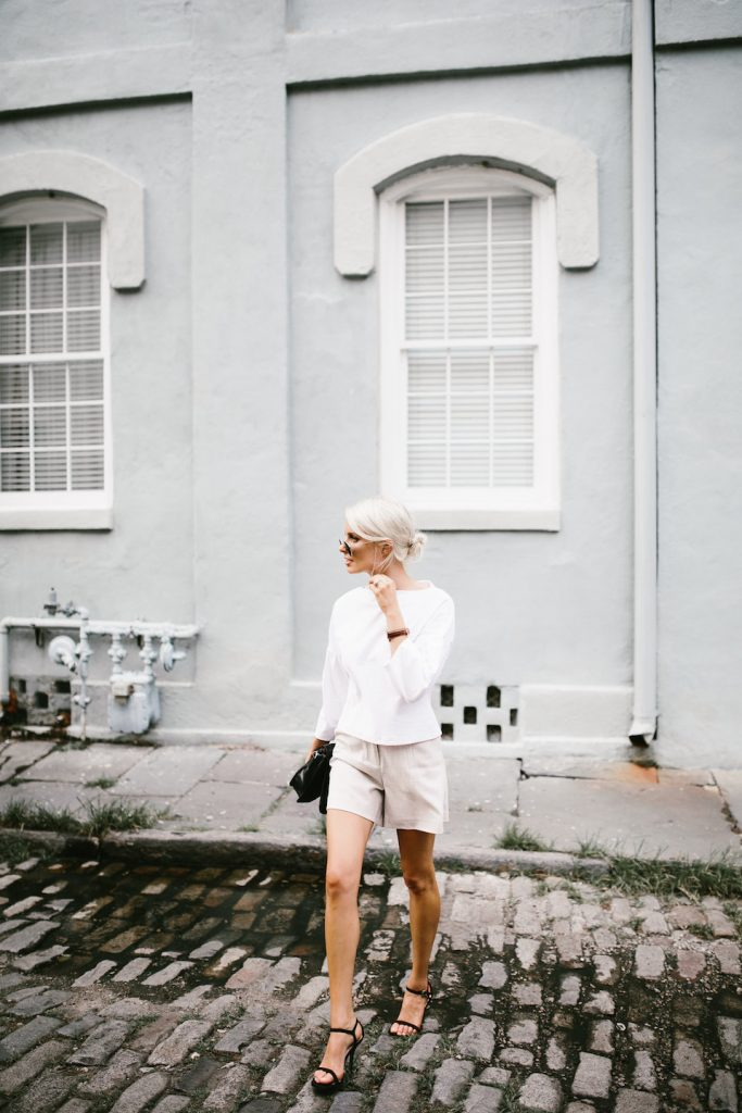 Bell Sleeves H&M ruffle boatneck top James Jeans Trouser High waist shorts Summer Street Style 2016   // Charleston Fashion Blogger Dannon Like The Yogurt