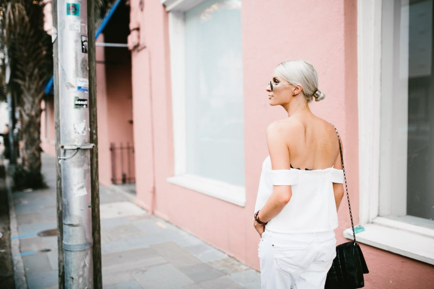 All white Cmeo Collective All Under You Palisades Top Off the Shoulder structured white distressed boyfriend denim Neo James Jeans Minimalist Summer 2016 // Charleston Fashion Blogger Dannon Like The Yogurt