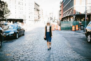 Boyish NYFW Street Style New York Fashion Week 2016 SS17 Street Style Fashion Trends Runway shaggy 70's hair bangs women ribbed mock neck tank Abercrombie & Fitch Long satin bermuda shorts H&M Longline Black Vest Loafers Forever 21 // Charleston Fashion Blogger Dannon Like The Yogurt
