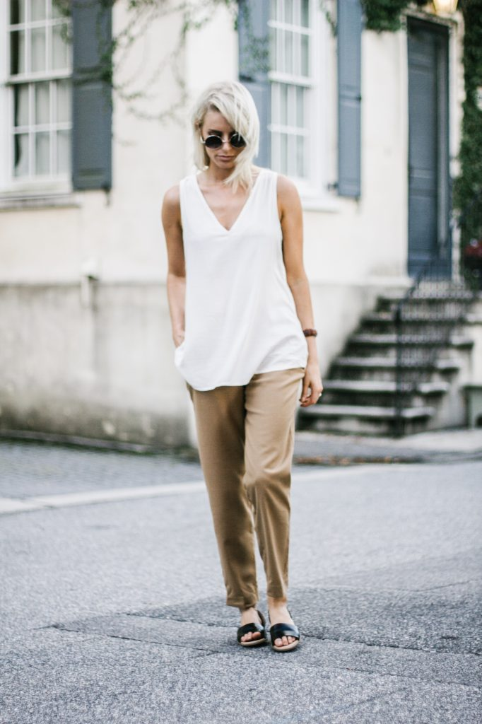 Old Navy Camel Harper Trousers V neck Tank black slip on sandals Street Style Blogger // Charleston Fashion Blogger Dannon Like The Yogurt