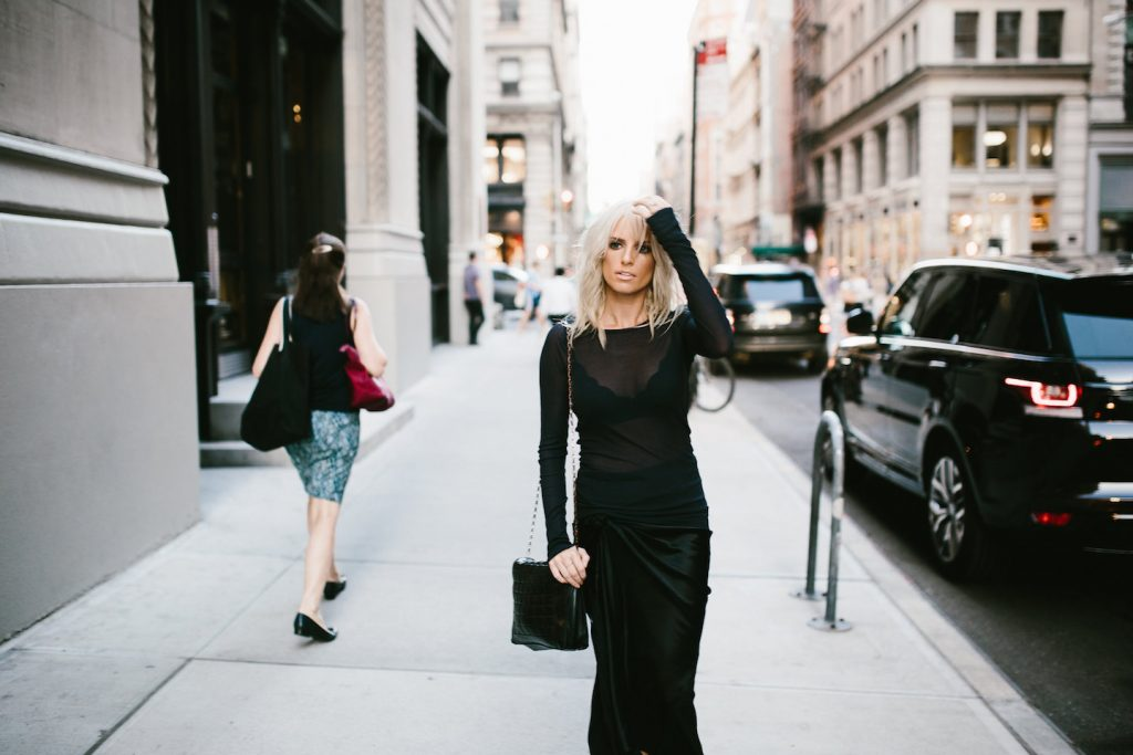 Sheer and Silk H&M Studio AW16 Collection New York Fashion Week NYFW Manhattan pleated satin skirt long sleeve top street style fall autumn trends 2016 // Charleston Fashion Blogger Dannon Like The Yogurt