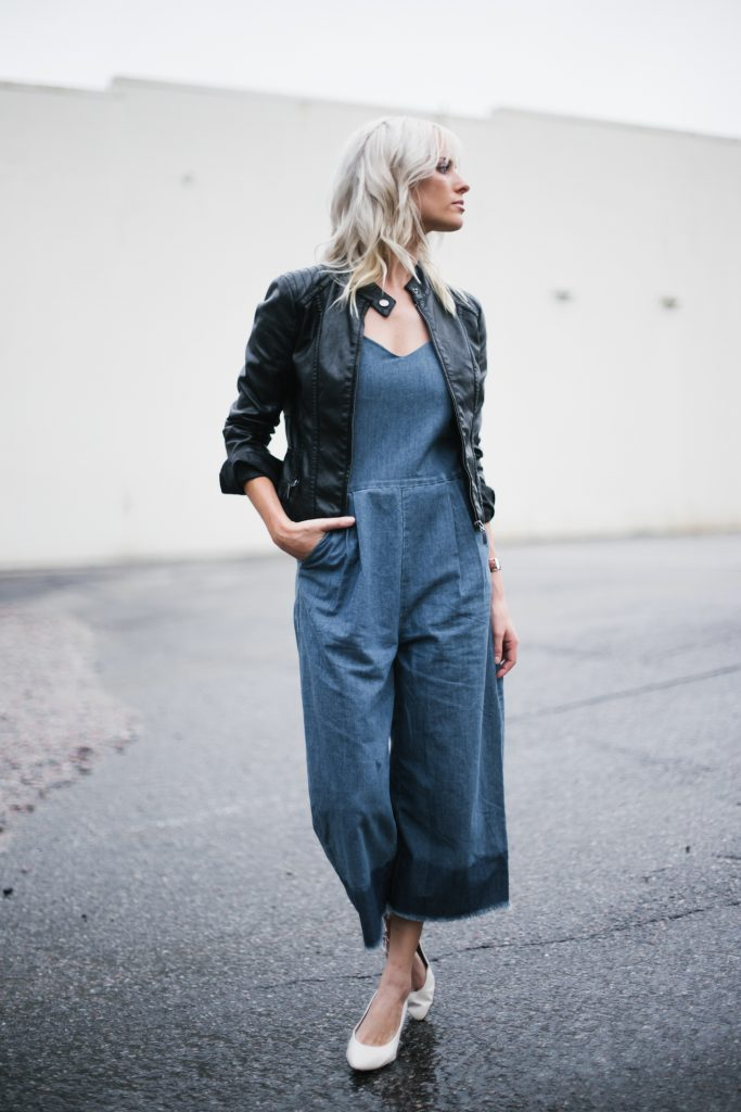 denim jumpsuit frayed wide leg culottes black biker leather jacket white kitten heels block blogger street style fall autumn 2016 // Charleston Fashion Blogger Dannon Like The Yogurt