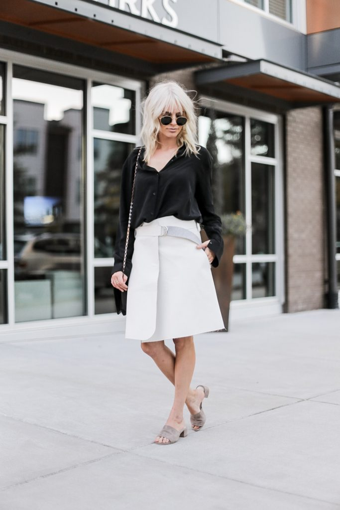 Brady Bunch 90's street style fall autumn trends 2016 wrap skirt white black satin blouse button up tan slip-on mules// Charleston Fashion Blogger Dannon Like The Yogurt