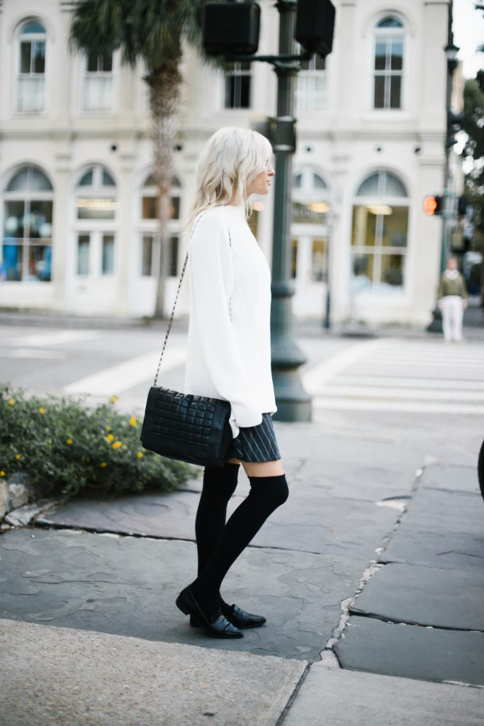 High Socks black knee-highs loafers pinstripe skirt oversized high neck knit cream sweater street style fall autumn 2016 // Charleston Fashion Blogger Dannon Like The Yogurt