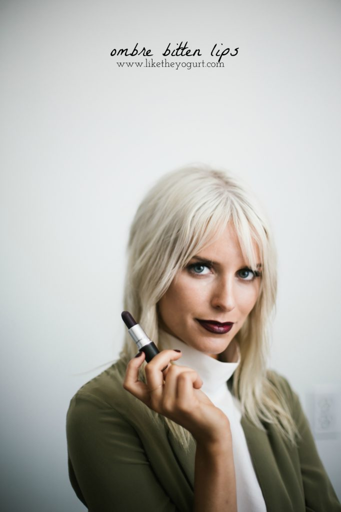 Ombre Bitten Lip oxblood burgundy dark lips platinum blonde beauty how-to tutorial fall autumn 2016 // Charleston Fashion Blogger Dannon Like The Yogurt