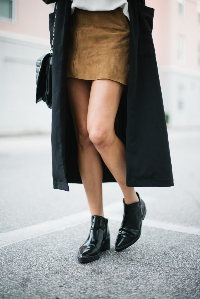 Fall Suedes oversized white mock neck sweater suede mini skirt black coat patent leather ankle boots street style fall autumn trends 2016 // Charleston Fashion Blogger Dannon Like The Yogurt