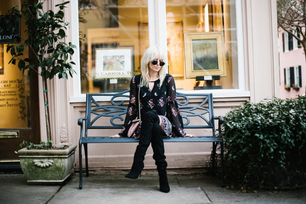 Long sleeve floral dress target bell sleeve shift dress thigh high boots black suede h&M street style fall autumn trends 2016 // Charleston Fashion Blogger Dannon Like The Yogurt