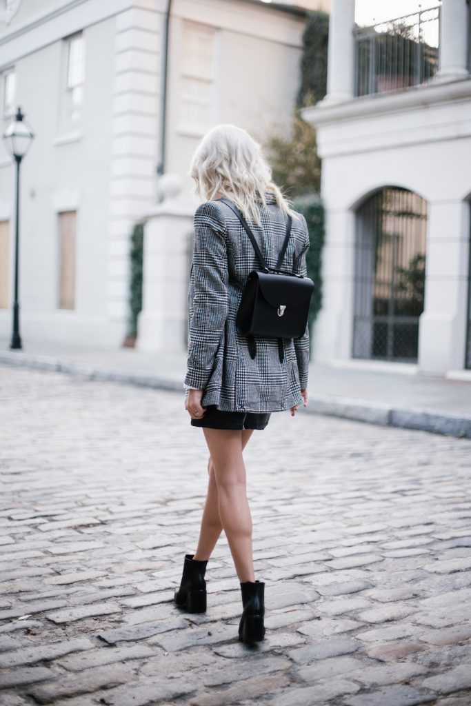 Cambridge Poppy Backpack houndstooth coat jacket leather mini skirt pointed ankle boots Fall Autumn blogger street style // Charleston Fashion Blogger Dannon Like The Yogurt