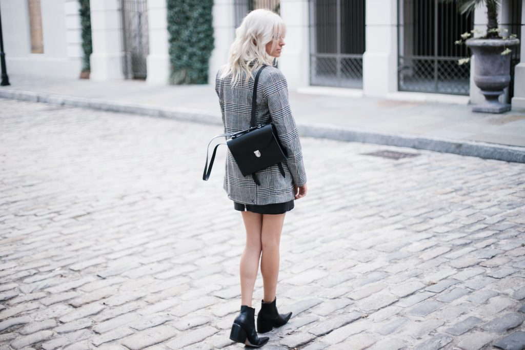 houndstooth coat Cambridge Poppy Backpack jacket leather mini skirt pointed ankle boots Fall Autumn blogger street style // Charleston Fashion Blogger Dannon Like The Yogurt