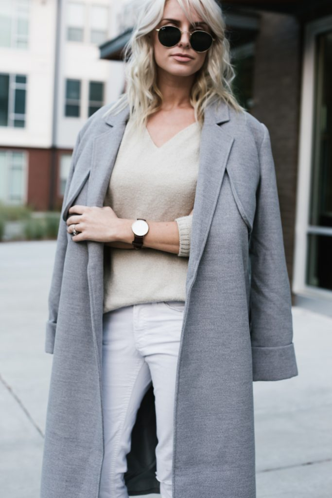 Neutrals layers grey coat white skinny jeans loafers minimalist blogger Fall Autumn blogger street style  // Charleston Fashion Blogger Dannon Like The Yogurt