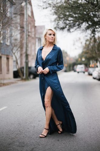 Hostess with the Mostess Forever 21 Satin Knotted high slit maxi dress long sleeve plunge neckline street style winter 2017 // Charleston Fashion Blogger Dannon Like The Yogurt