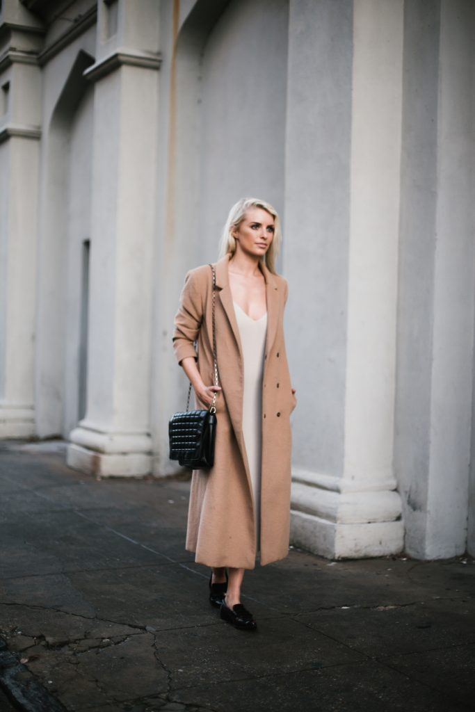 Knit Slipdress Nordstrom Leith beige sweater dress wool long camel coat loafers blogger street style winter 2017  // Charleston Fashion Blogger Dannon Like The Yogurt