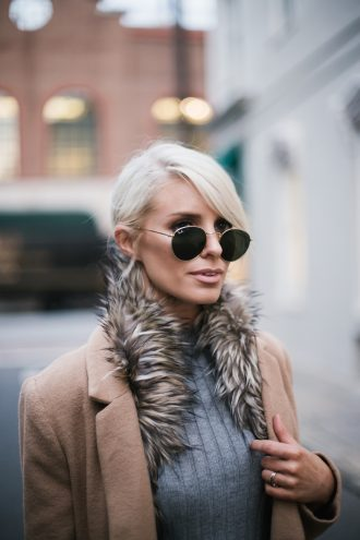 faux fur brown stole DIY tan camel long wool coat forever 21 ribbed mock neck tank gold hair cuff over-the-knee boots menswear minimalist blogger winter street style // Charleston Fashion Blogger Dannon Like The Yogurt