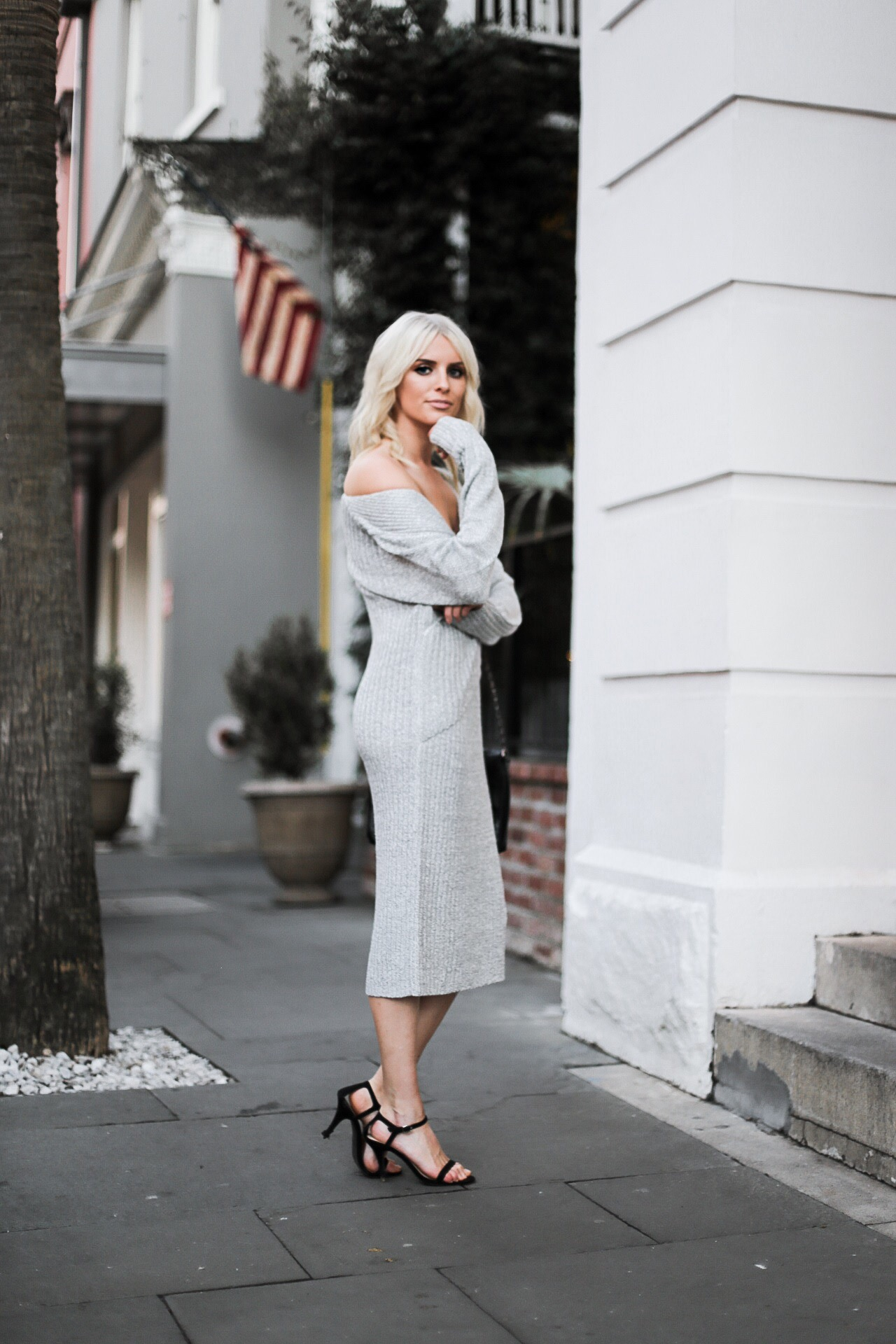 Make Me Move cmeo collective sweater ribbed knit dress v neck grey Shopbop Revolve Nordstrom blogger street style winter 2017 // Charleston Fashion Blogger Dannon Like The Yogurt