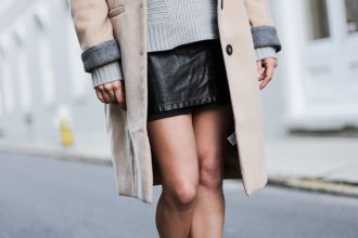 Layered beige peacoat grey cuff Forever 21 chunky jumper sweater ASOS leather mini skirt black ankle boots blogger street style winter 2017 // Charleston Fashion Blogger Dannon Like The Yogurt